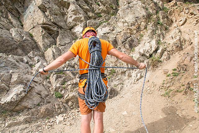 Переноска верёвки на спине