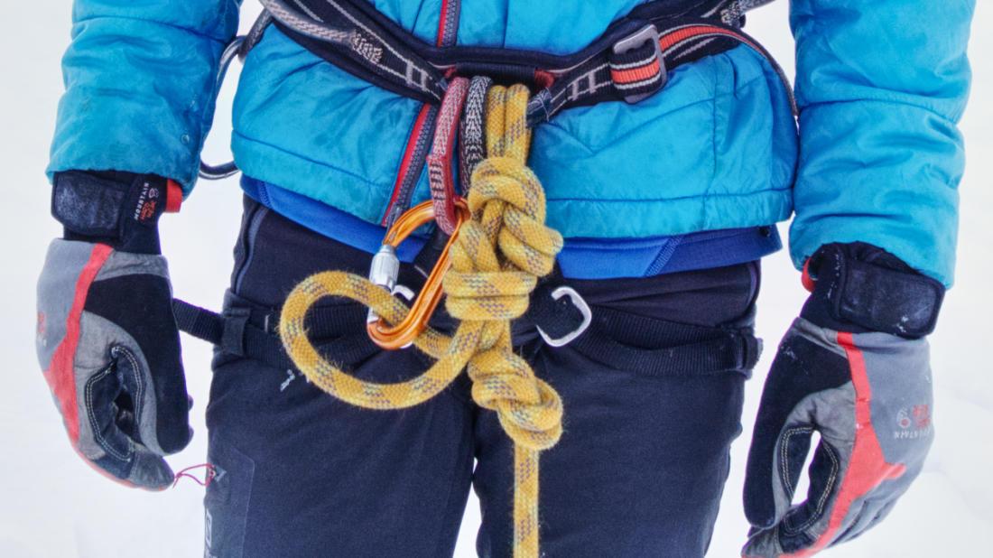 Как привязаться к середине верёвки