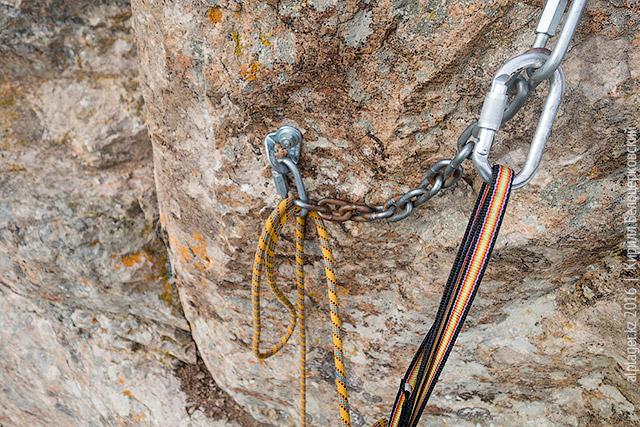 Верёвка продета сквозь рапид