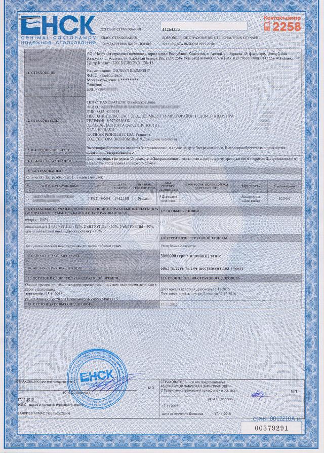 Страховой полис компании НСК
